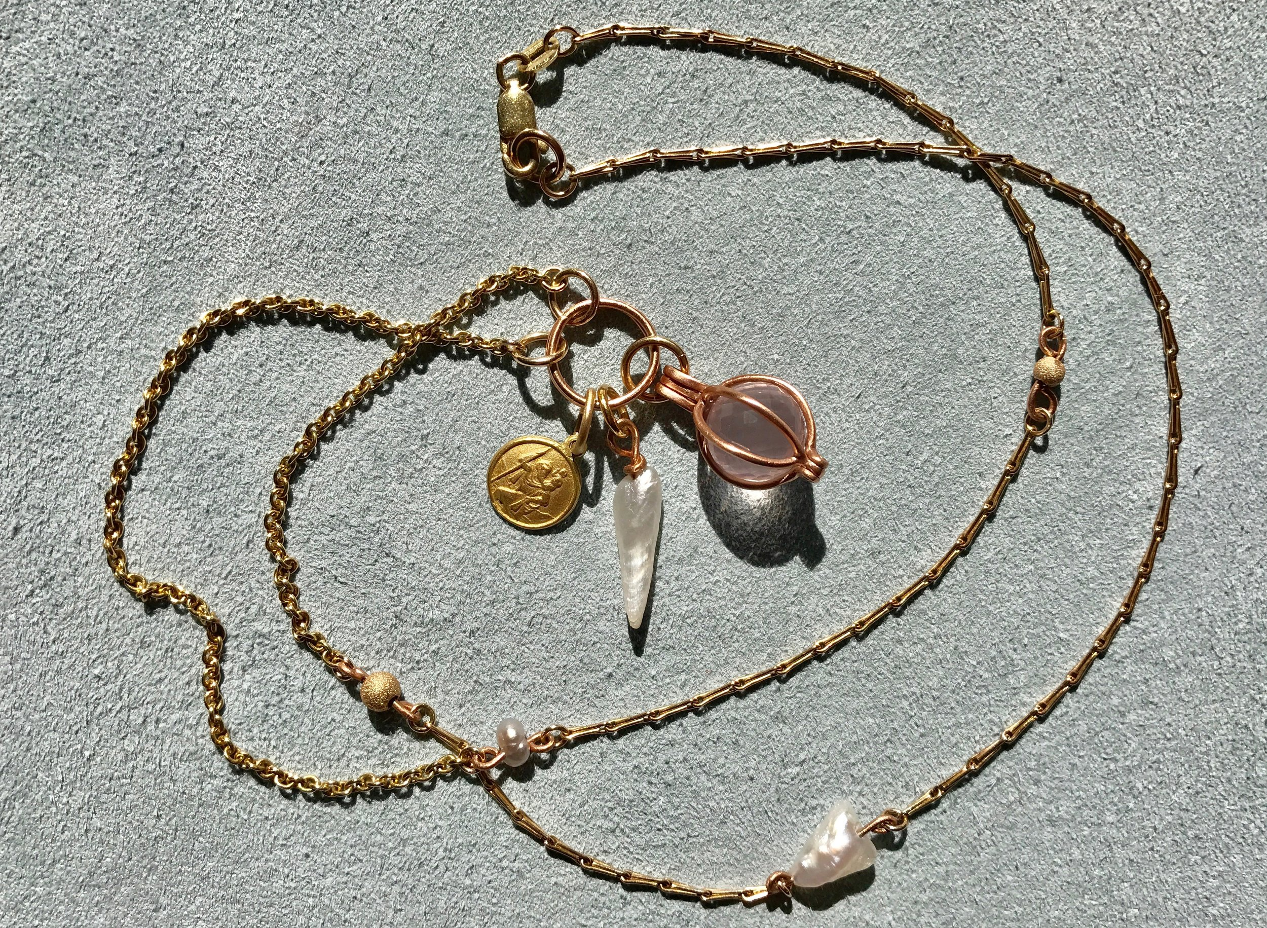 Co-Creation mixed chain, rose quartz, Mississippi pearl, St Christopher necklace by Tara Turner fine jewellery 2.jpg