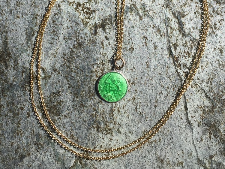 GREEN ENAMEL SILVER ST. CHRISTOPHER MEDALLION WITH GOLD CHAIN NECKLACE