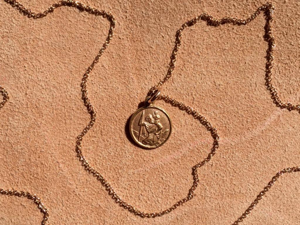 18CT ROSE GOLD ST. CHRISTOPHER MEDALLION NECKLACE