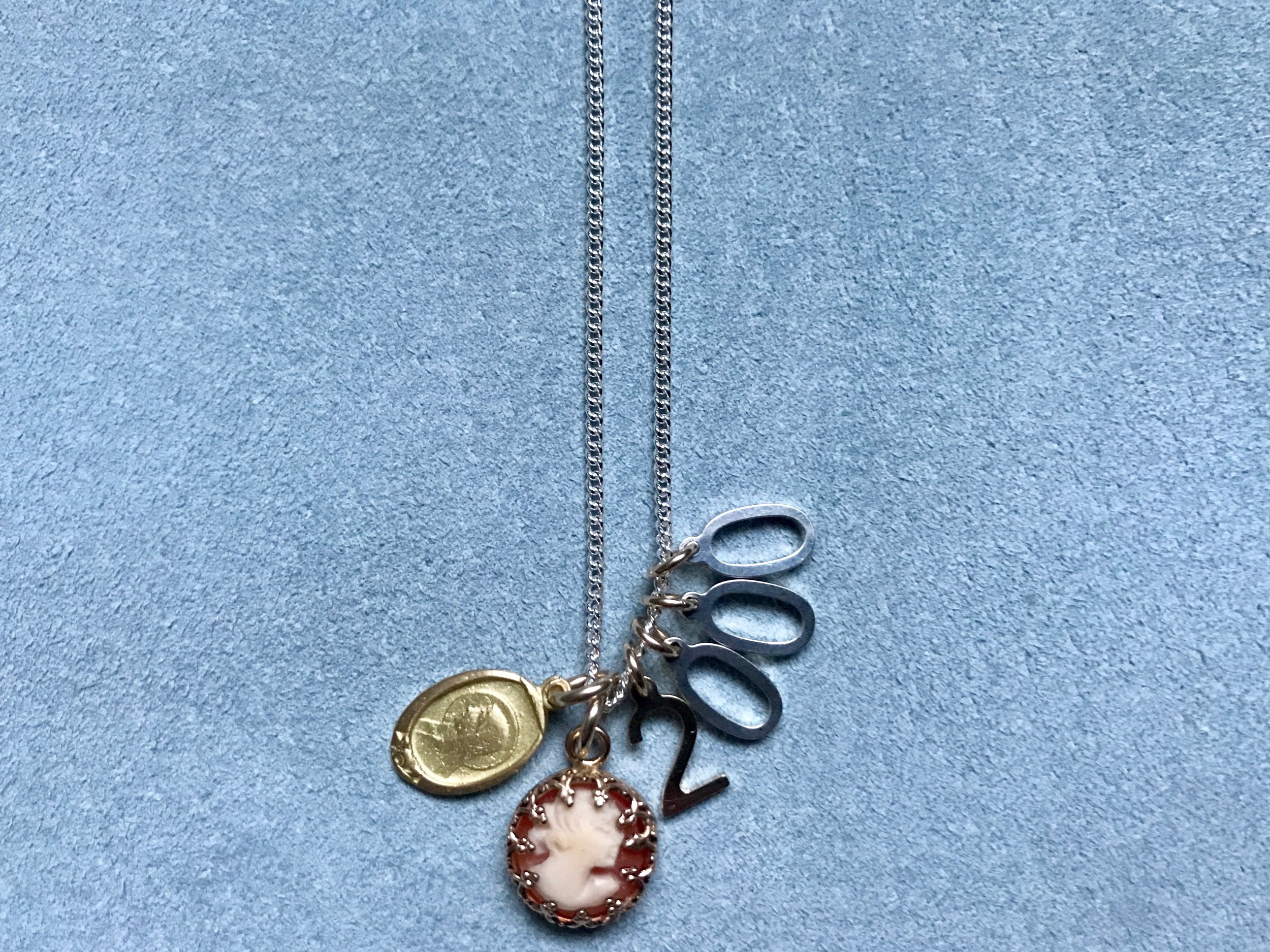 MADONNA PENDANT, CORAL CAMEO, NUMBER CHARM PENDANT NECKLACE