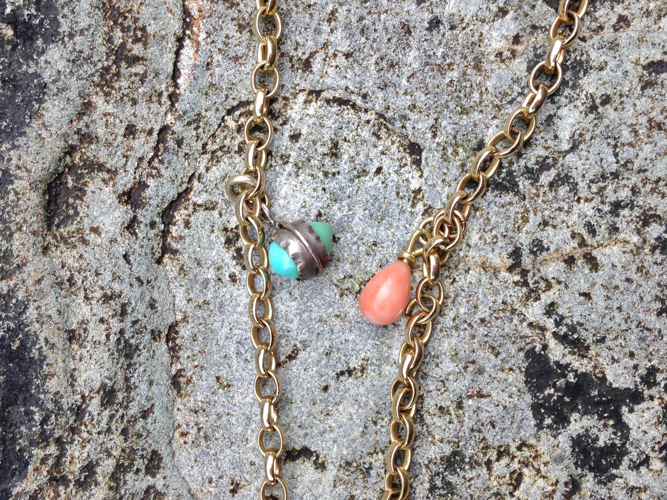 BELCHER CHAIN WITH TURQUOISE & CORAL PENDANT