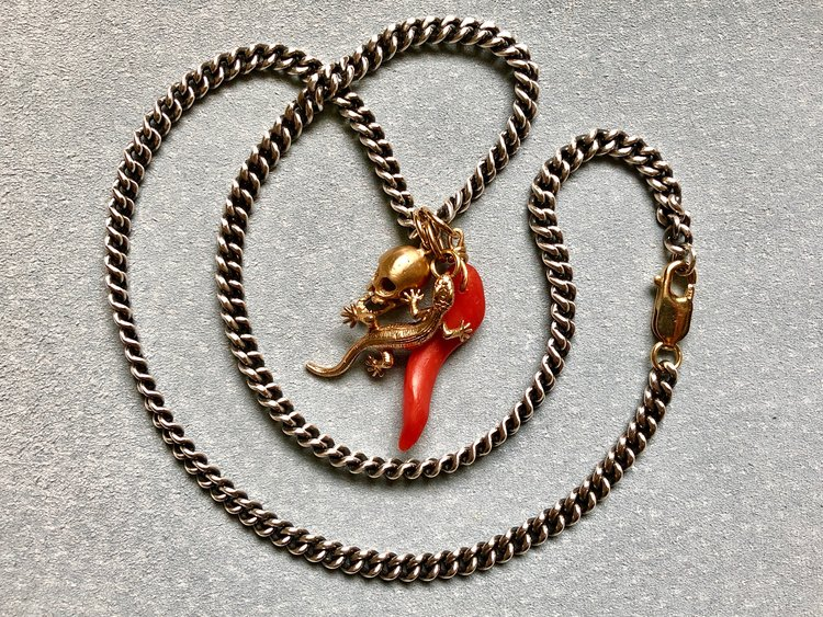 HEAVY SILVER CURB CHAIN WITH SKULL PENDANT, SALAMANDER & ANTIQUE SARDINIAN CORAL