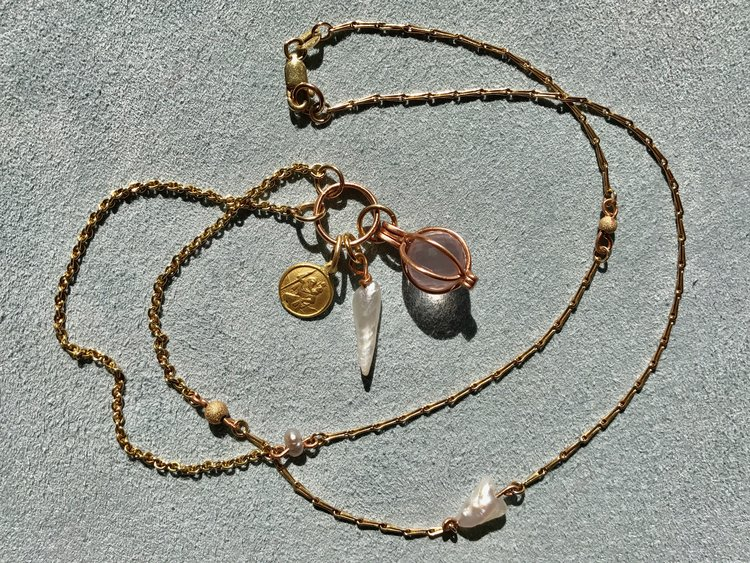MIXED CHAIN WITH ST. CHRISTOPHER, MISSISSIPPI PEARL & ROSE QUARTZ PENDANT BASKET