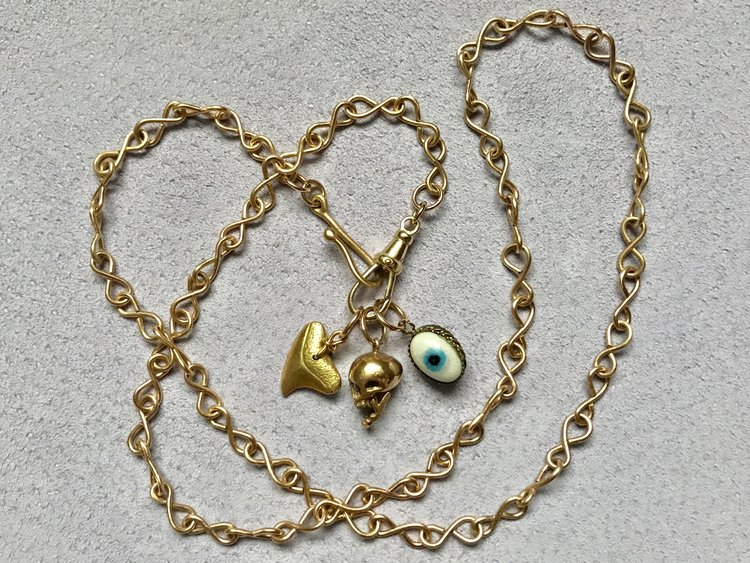 INFINITY CHAIN WITH SOLID GOLD SHARKS TOOTH, SKULL PENDANT & OLD EVIL EYE