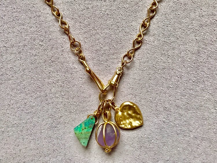 INFINITY CHAIN WITH BOULDER OPAL, LAVENDER APATITE & CHEWED HEART PENDANT