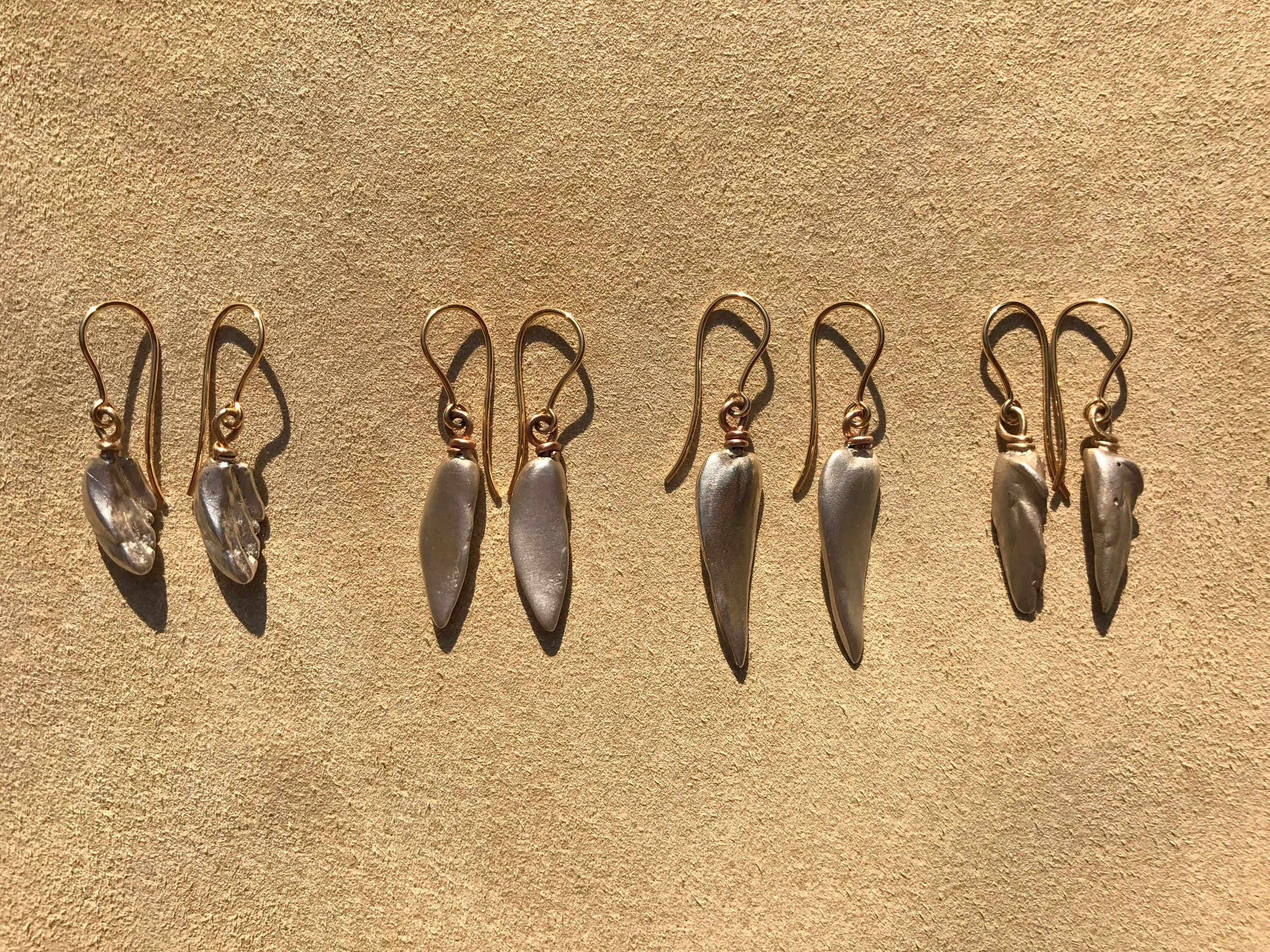 solid silver and gold Mississippi Wing drop & feather drop earrings