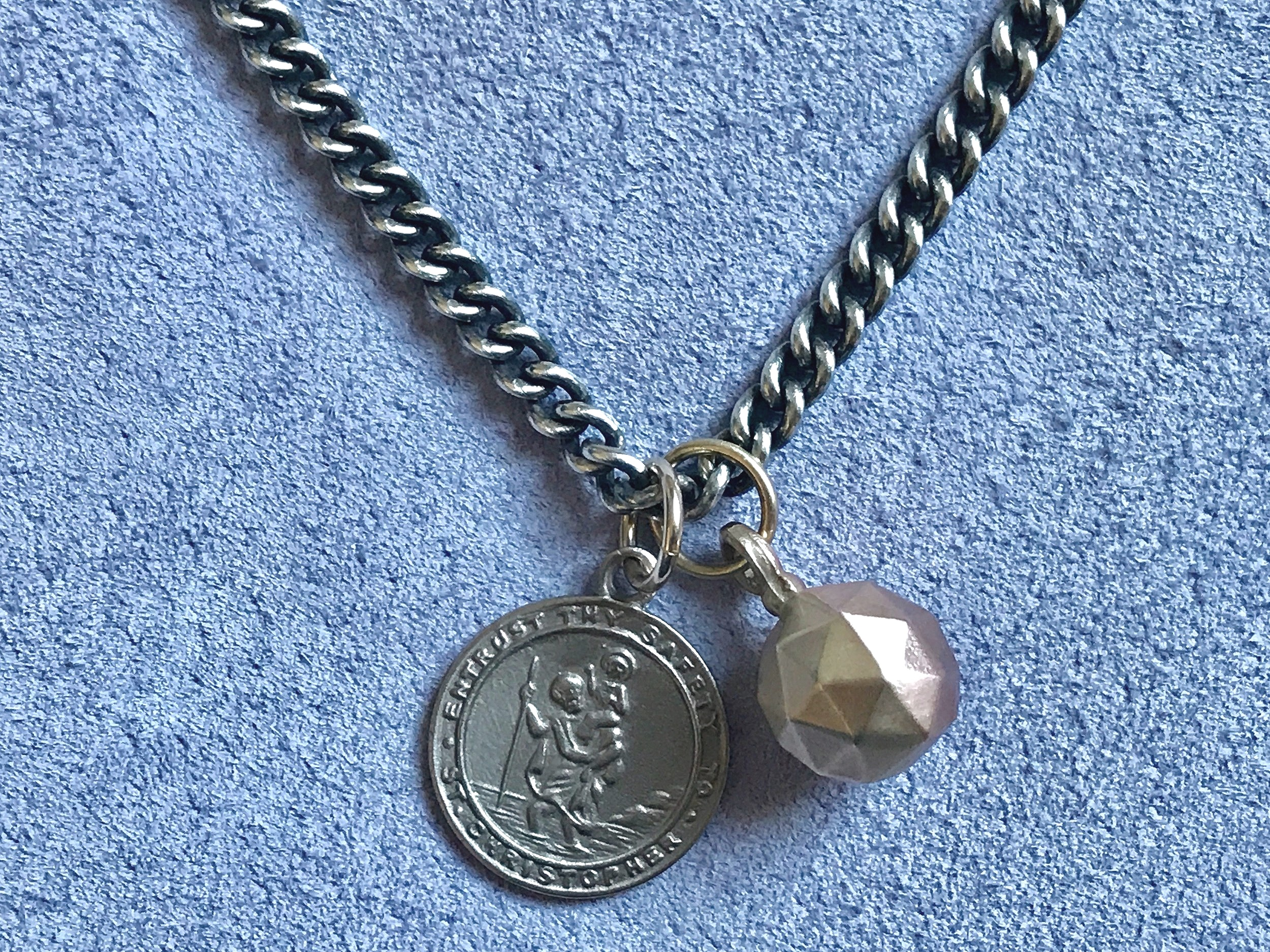 18CT WHITE GOLD ST. CHRISTOPHER MEDALLION WITH SPHERE PENDANT