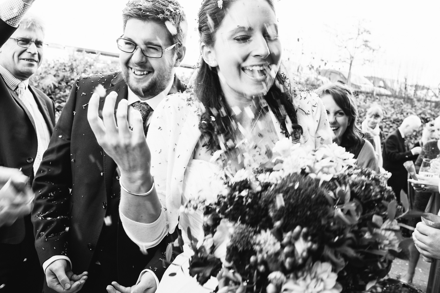 Bride and Groom Confetti Worcestershire Wedding John Colson Photography