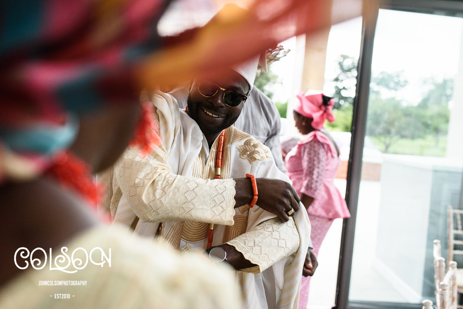 One of the themes of this weekend was the amount of dancing throughout the wedding celebrations. Here is Dolapo dancing into the ceremony room on the friday, with the intention of impressing Toyosi's family members.