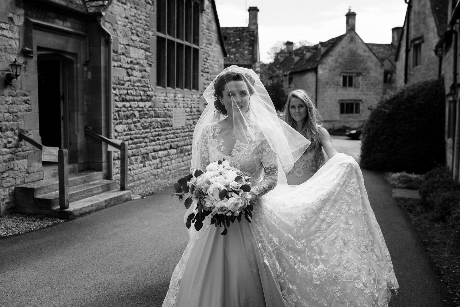 Bride arriving at Church in Stanton, Worcestershire.