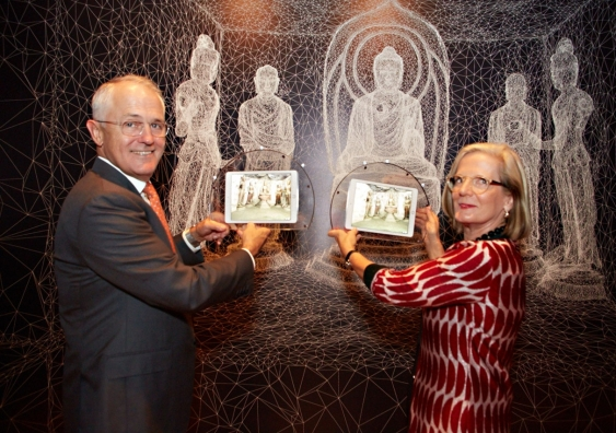 Malcom Turnbull experiencing a digital recreation of a world listed Buddhist Grottoes. Something he's quite willing to enjoy but at the same time stop all together. Click on photo to view source.
