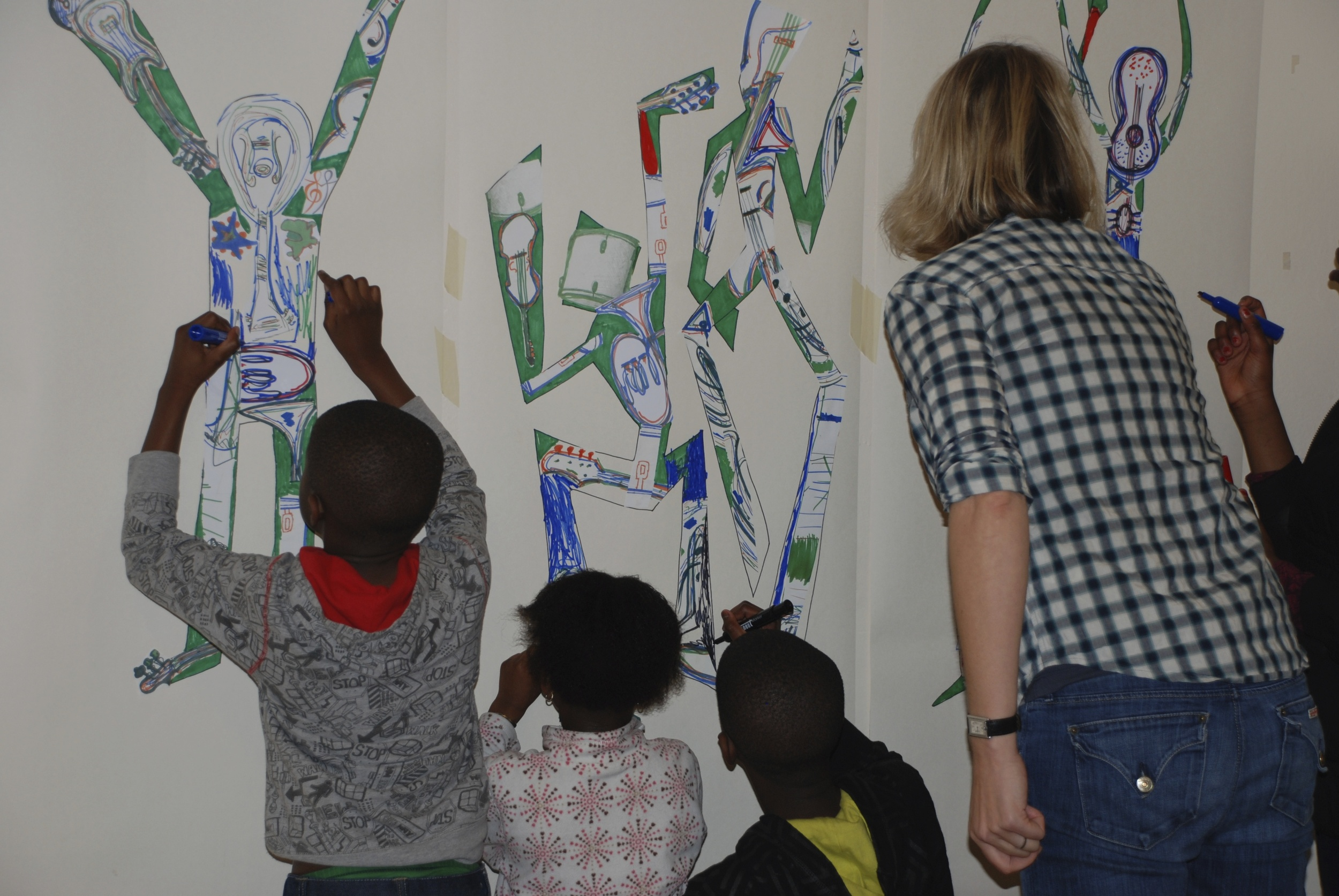 Move exhibition drawing and collage mash-up with Sophie Marsham at Hebe Foundation youth charity