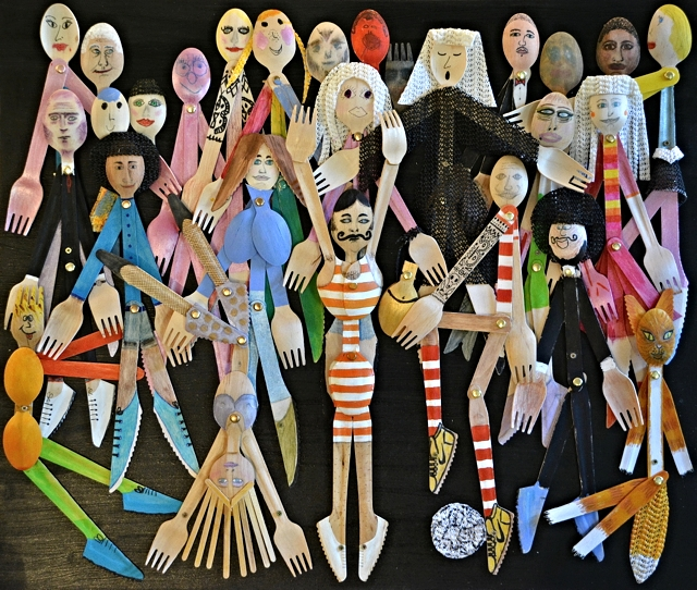 Moving Figures is a collective sculpture of cutlery people made by ages 5 to 56 in free public workshops run by Sophie Marsham during a 2015 London arts festival