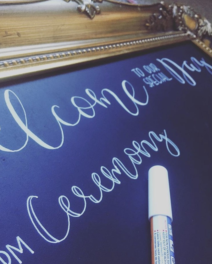 Welcome boards for weddings with modern calligraphy