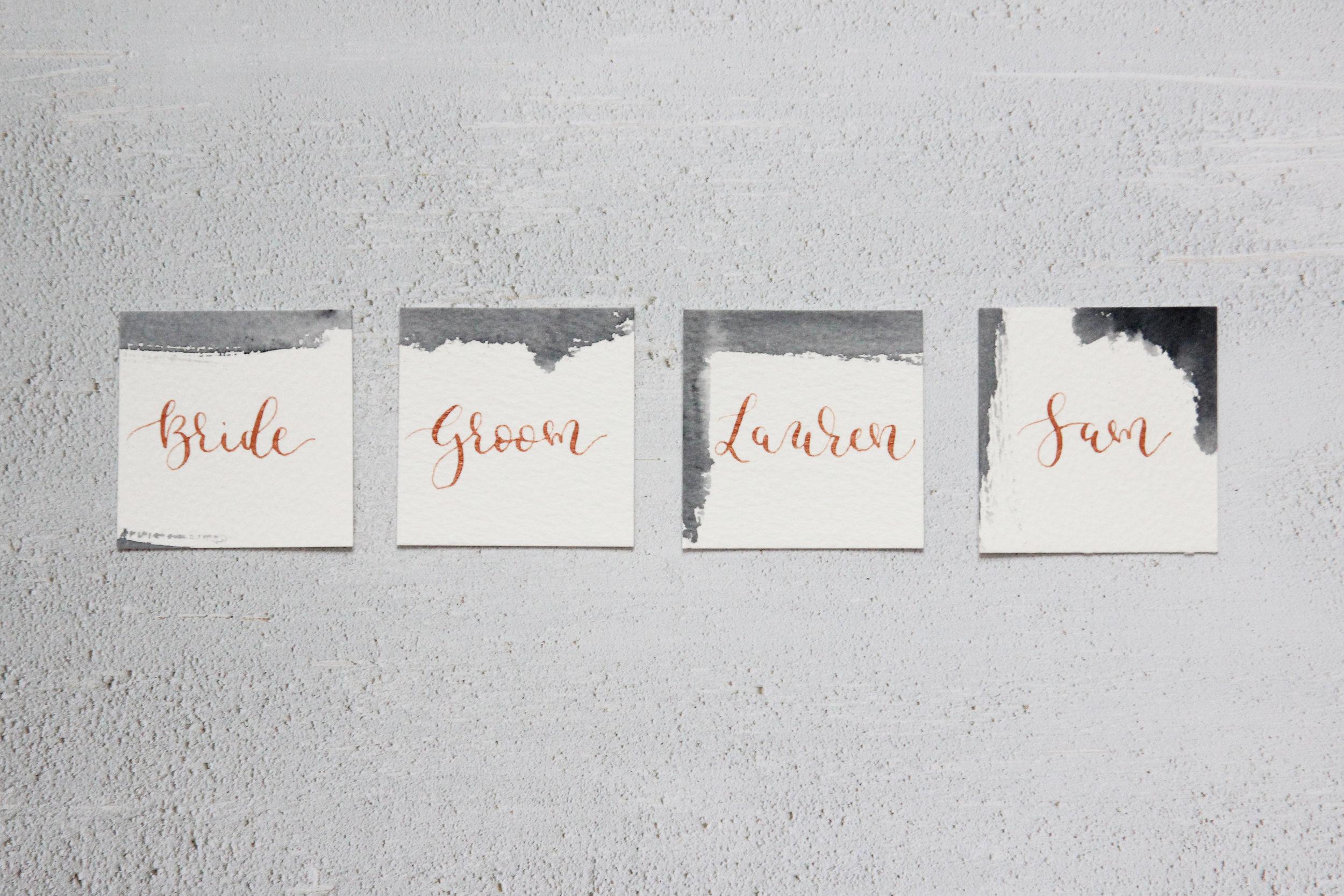 modern calligraphy wedding stationery, hand illustrated wedding stationery, gold foil wedding stationery