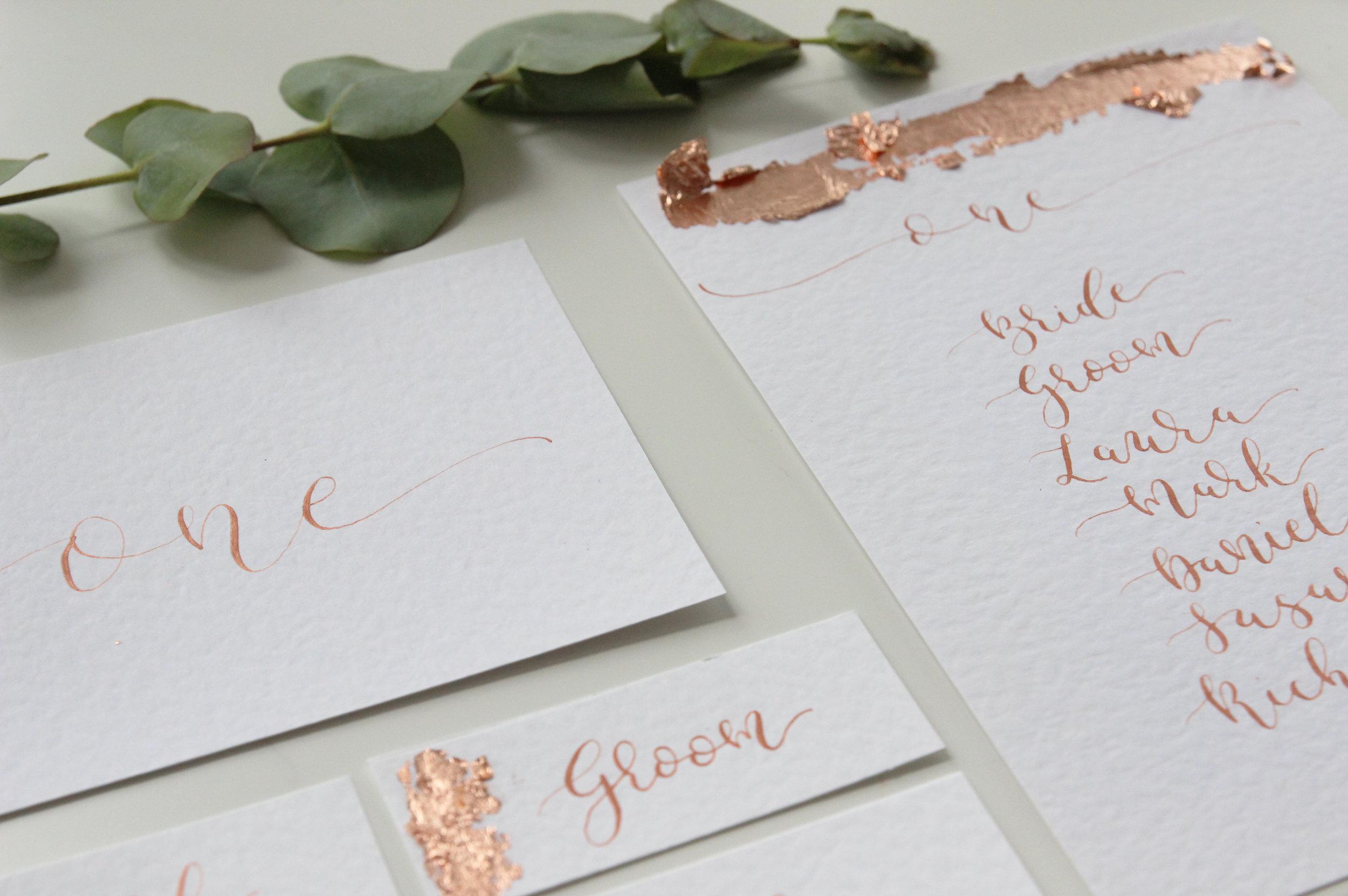 calligraphy wedding place settings