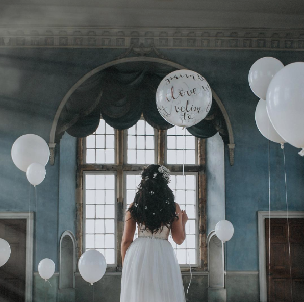 wedding balloons with modern calligraphy