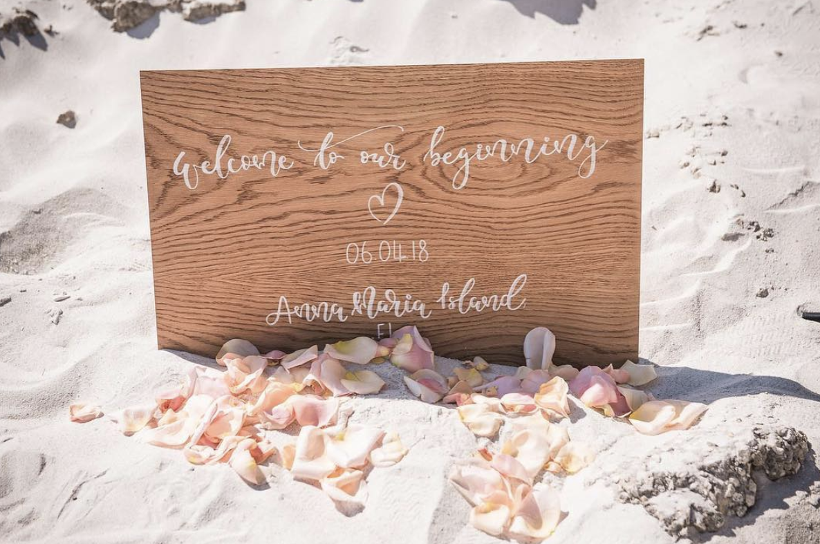 Wedding signage for weddings abroad