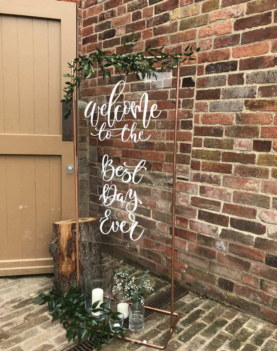 perspex wedding signage