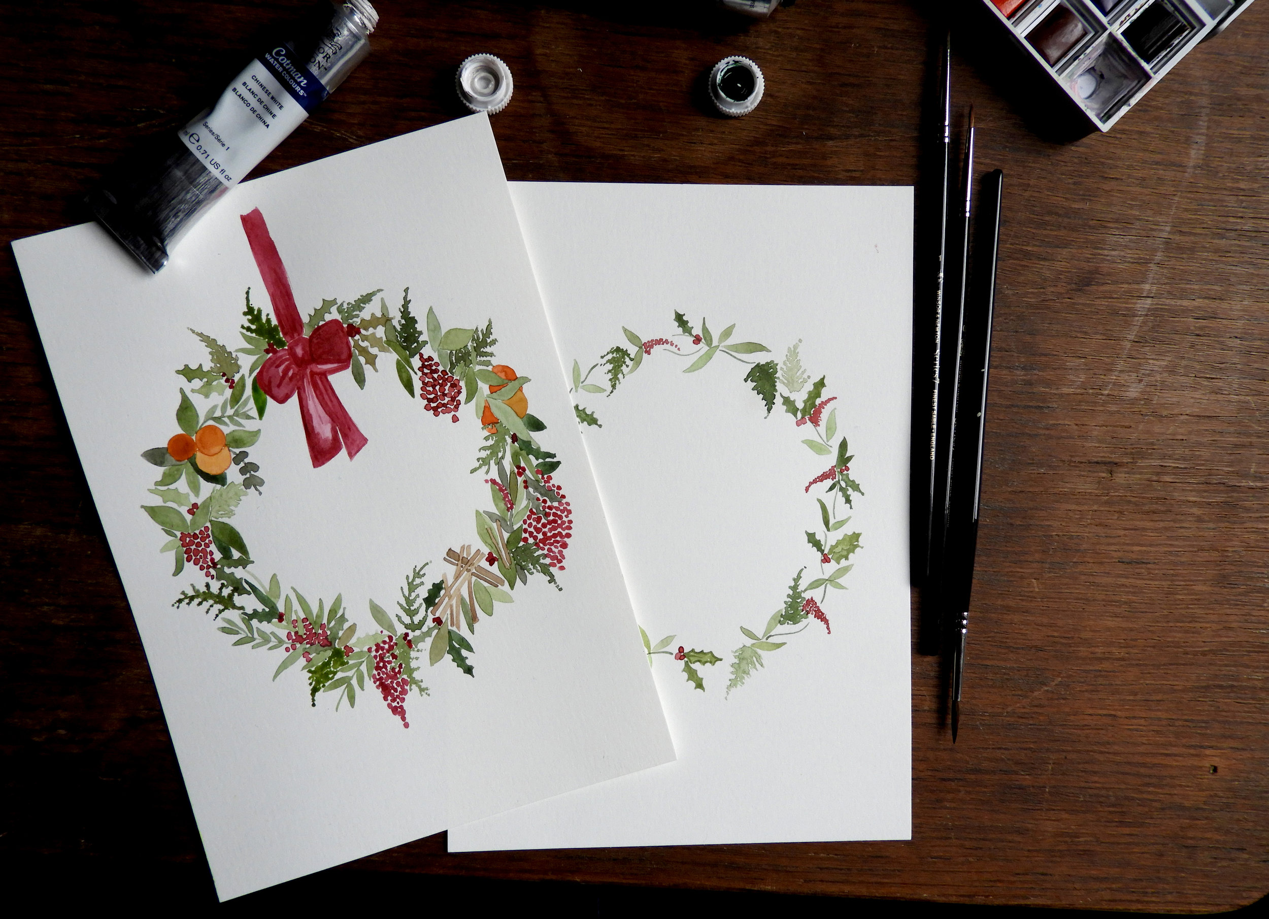 Christmas watercolour workshop Nottingham