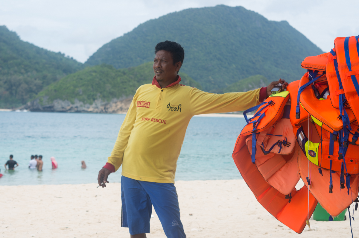 Acehnese lifeguard Anis Suleman at his lifeguard post at Lampuuk Beach