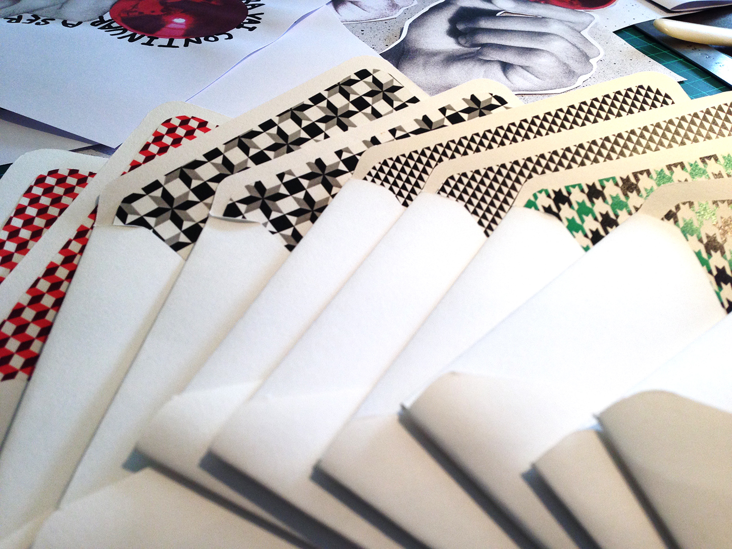 Hand-made envelopes and other promocional materials for Christmas 2015.