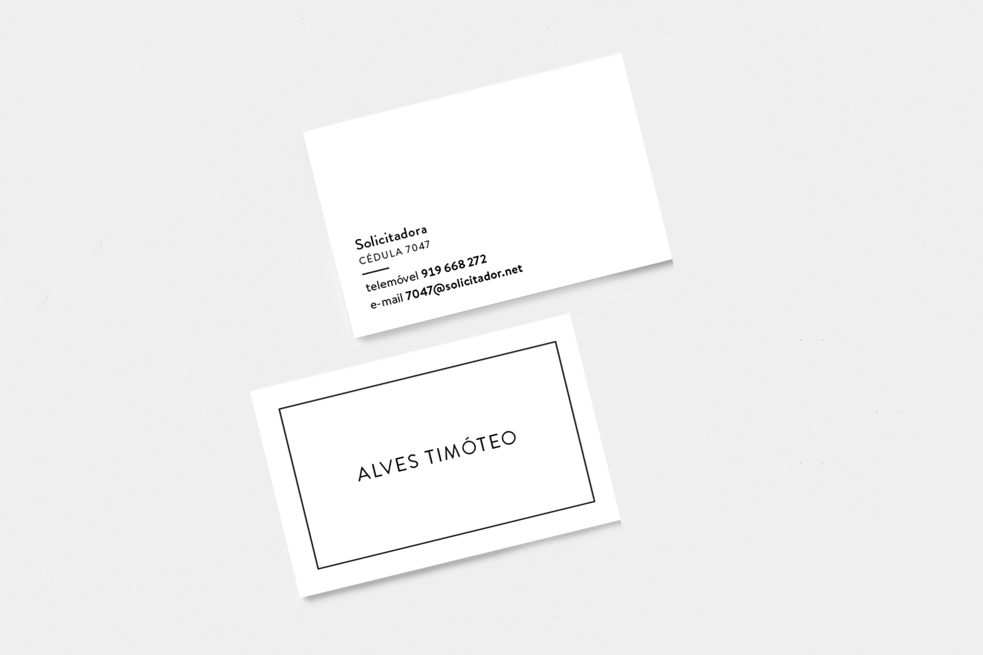 Business cards for solicitor/adviser Rute Alves Timóteo.