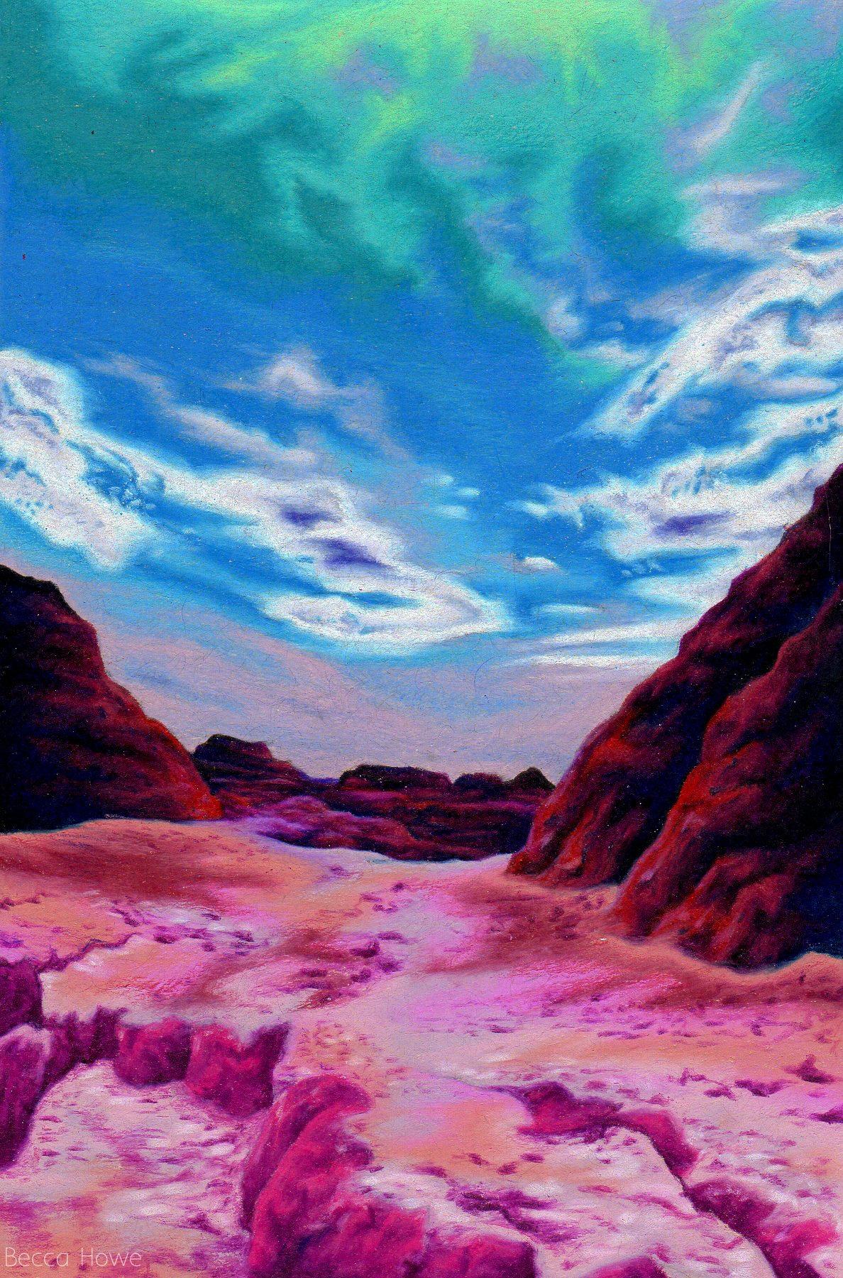 """Badlands , Colored Pencil, 4"""" x 6"""", 2017"""
