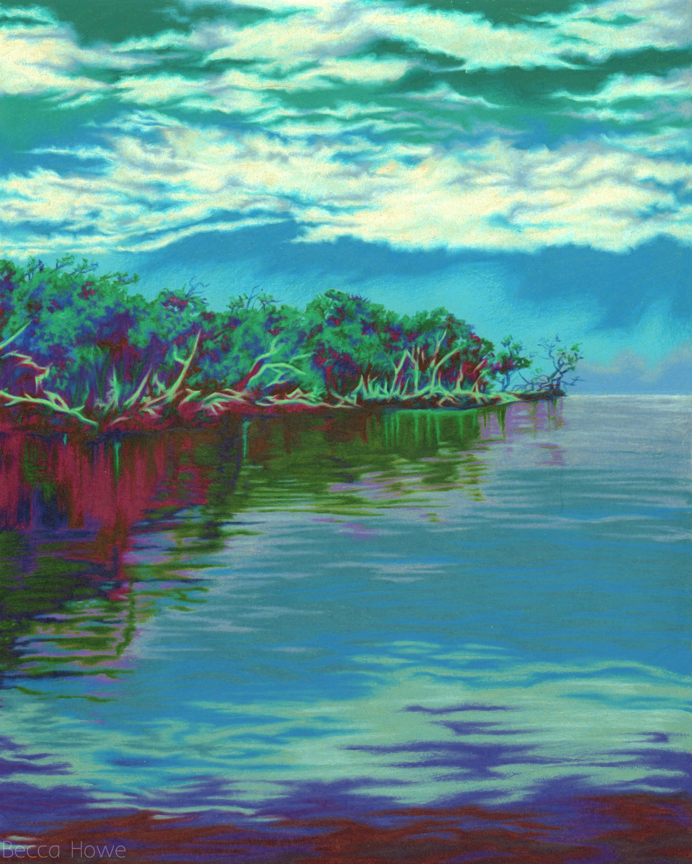 "Everglades , Colored Pencil, 8"" x 10"", 2018"