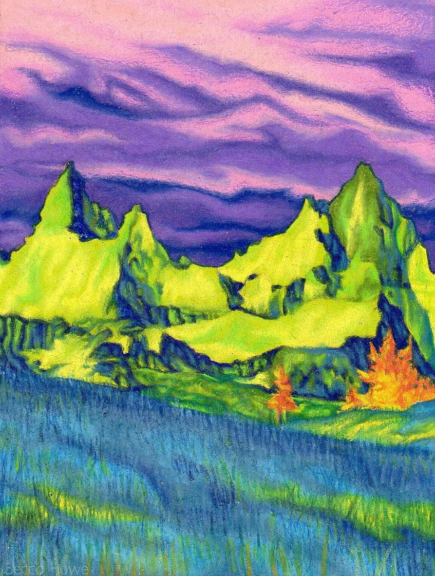"""Badlands III , Colored Pencil, 3"""" x 4"""", 2017"""