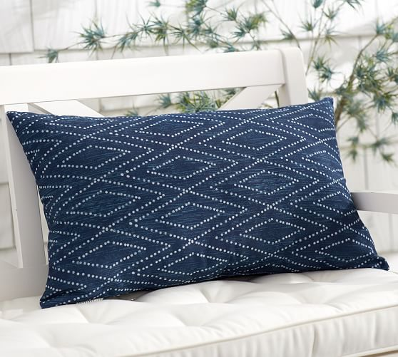 Finish the look with a saturted cobalt. This Pottery Barn Ikat print is a perfect pairing.