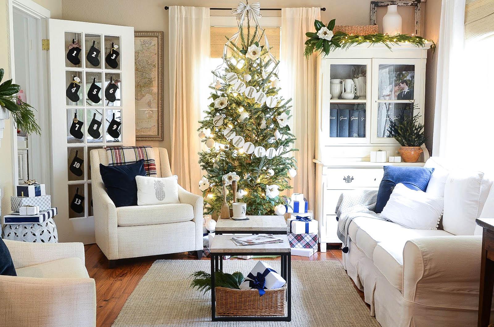 White Christmas Tree Living Room