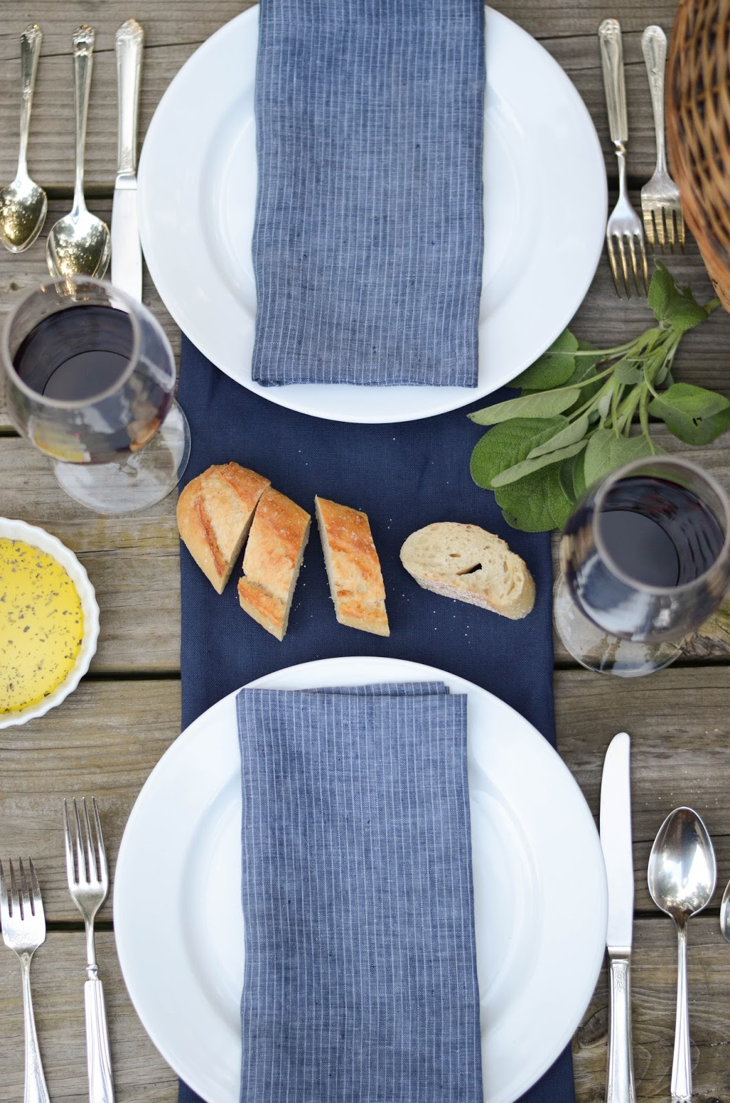 Simple Place Setting with Blue Napkins