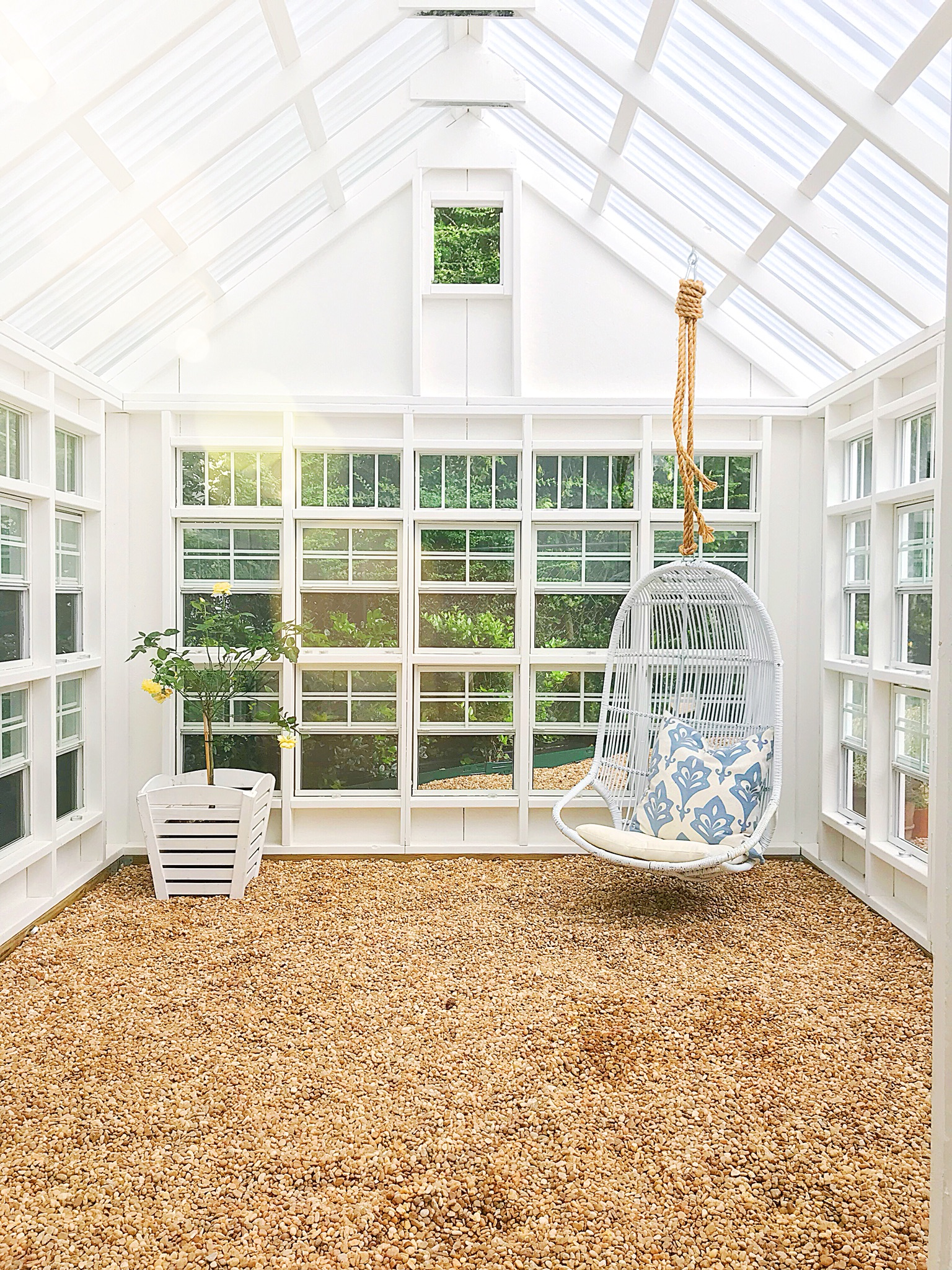 Greenhouse Kit : Found   Here   | Hanging Chair : (no longer available), similar one @ Serena & Lily