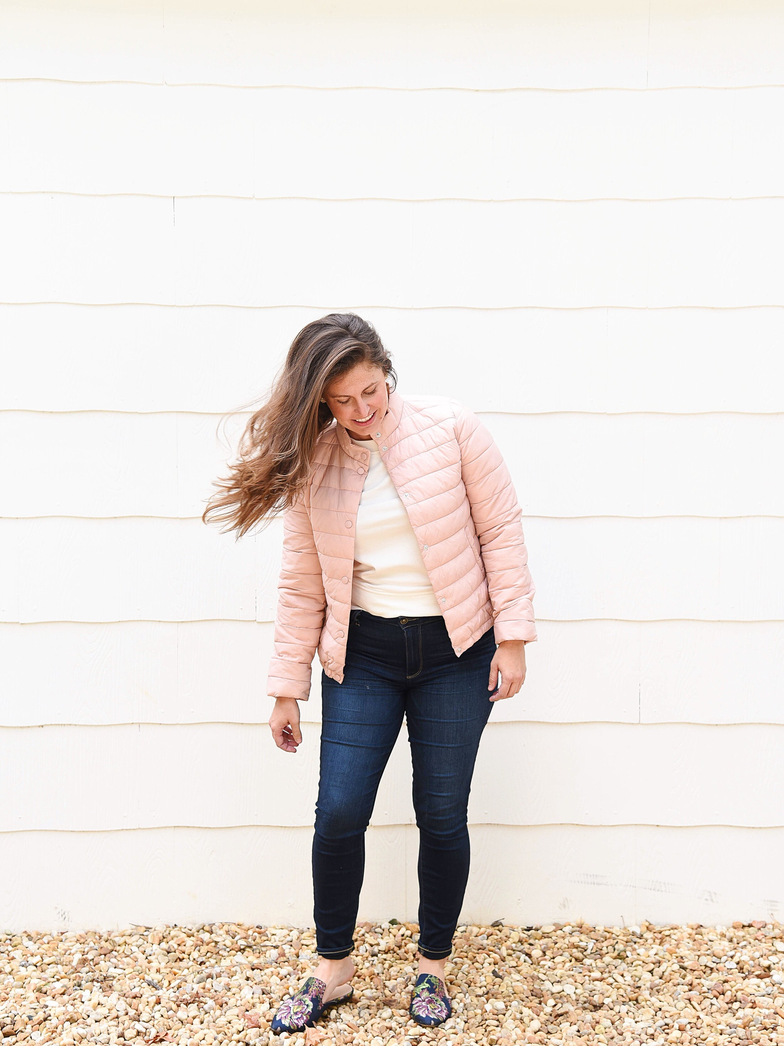 Top :    Crewneck Pullover, Color Cream    | Jacket :    Quilted Puffer Jacket Color Pink    | Shoes:   Flower Slides