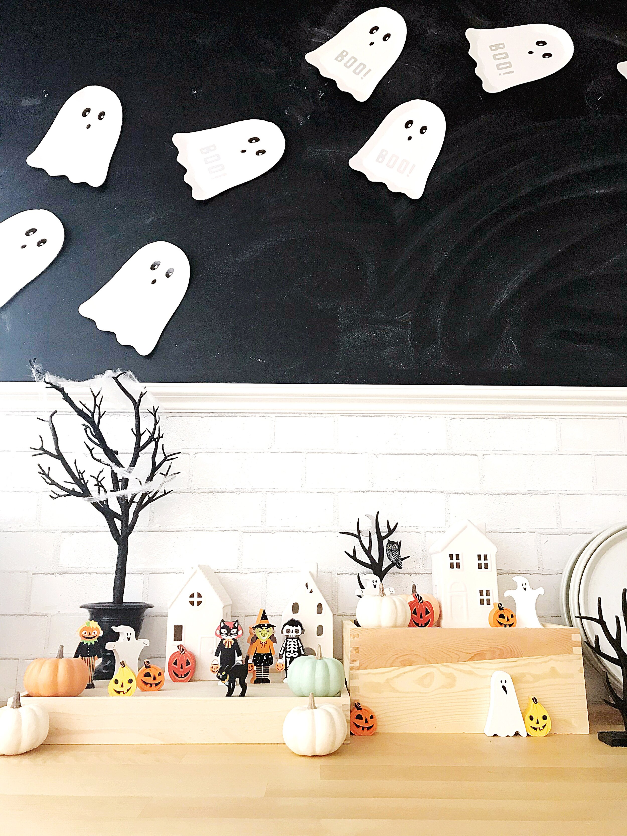 Wood Halloween Figures found  here  | Ceramic Houses : Dollar Spot, similar ones found  here
