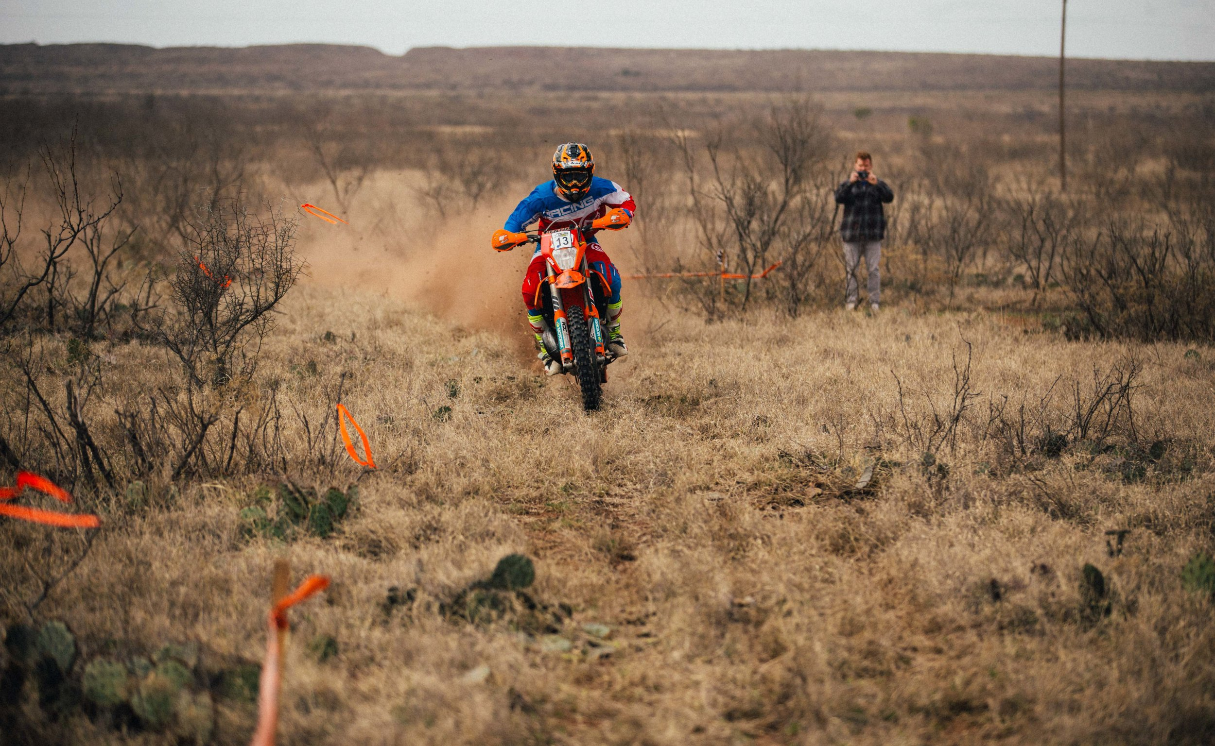 Charging into the finish of one of the sprint enduro tests on Saturday.