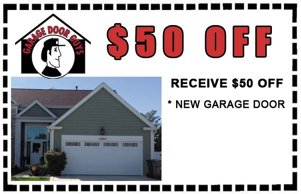 $50 off new single car garage doors. PHONE 847-888-8833