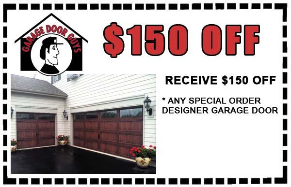 $150 off any special order designer garage door.PHONE 847-888-8833