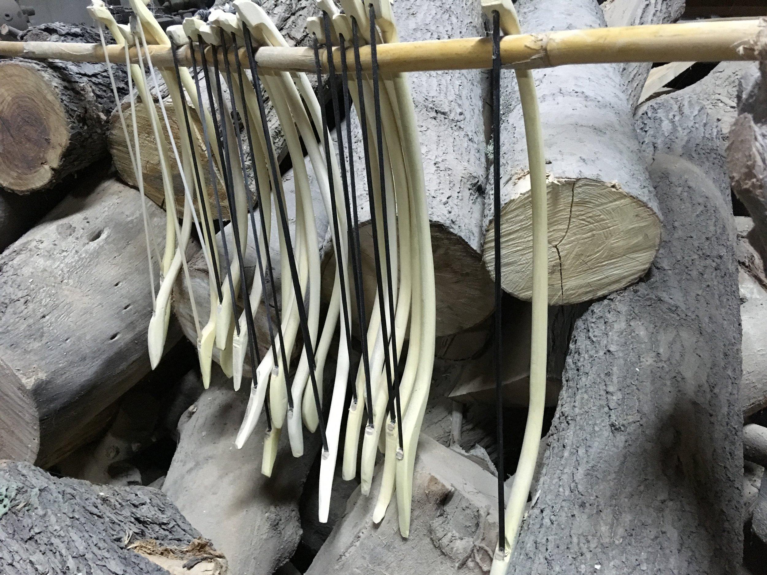 Bows in Francesco Siviglia's laboratory, Bova Marina, Calabria, Italy