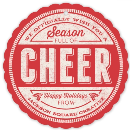 Cheer Stamp Holiday Ornament Card by GeekInk Design