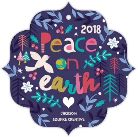 Festive Peace Holiday Ornament Card by Peetie Design