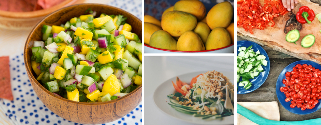 Far left image of cucumber mango salsa from  Oh My Veggies