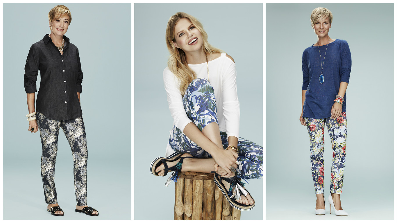Floral pants in three different intricate patterns from Lisette - The most Flattering Fit.