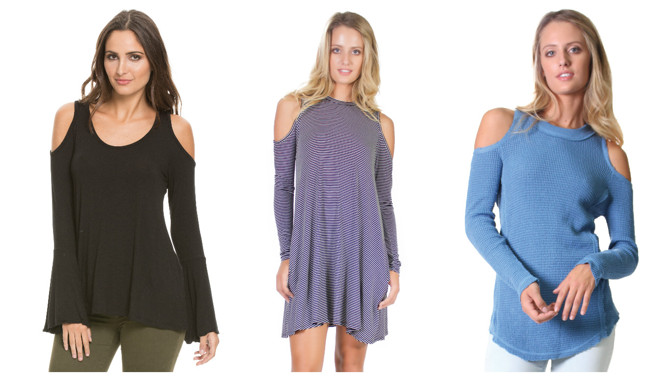 Here for a more casual, sporty, look... A cold shoulder in a cotton top, or a cold shoulder as a dress... we are carrying something for everyone!