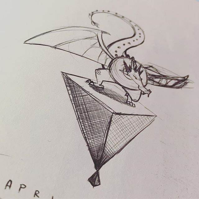 Patience. #sketchoftheday #drawing #illustration  #sketchbook #geometry #dragon #wtf