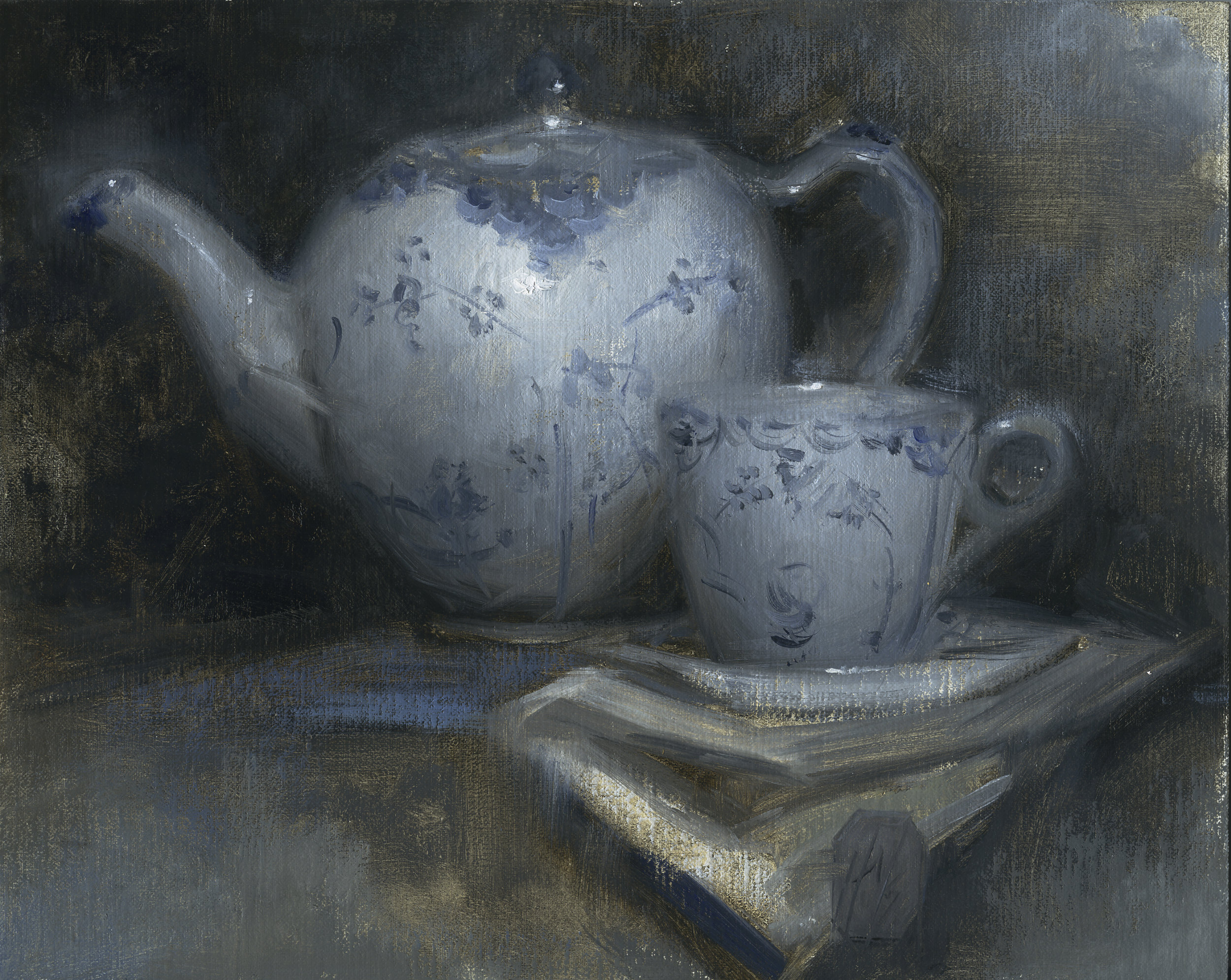 """""""Study in Blue."""" Oil on linen on panel. 10 x 8 inches. 2014."""