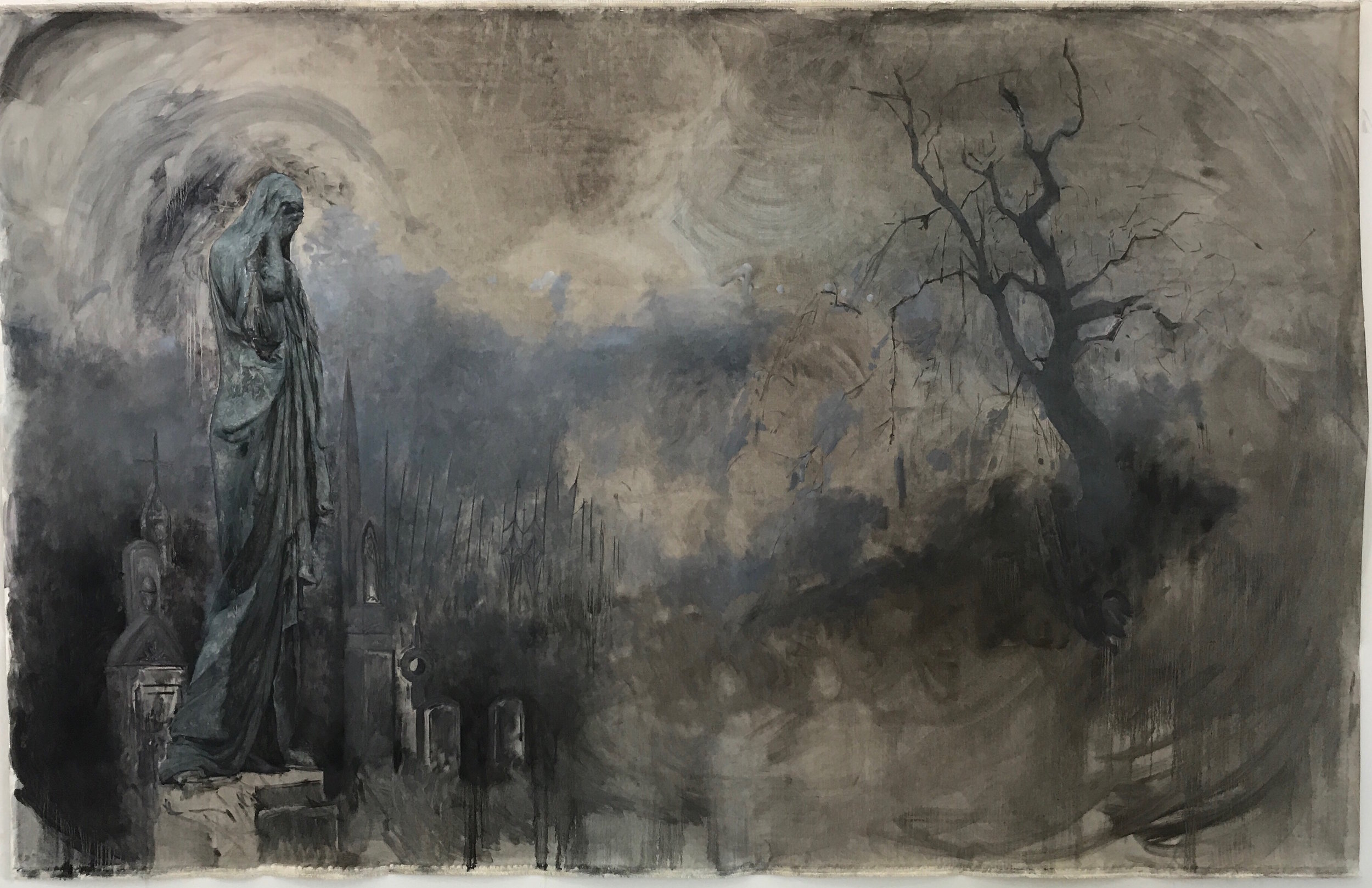 """""""Chapter 1: In the Cemetery,"""" oil on linen, 127 x 79 inches, 2017.""""  Photo Credit: Stefan Hagen"""