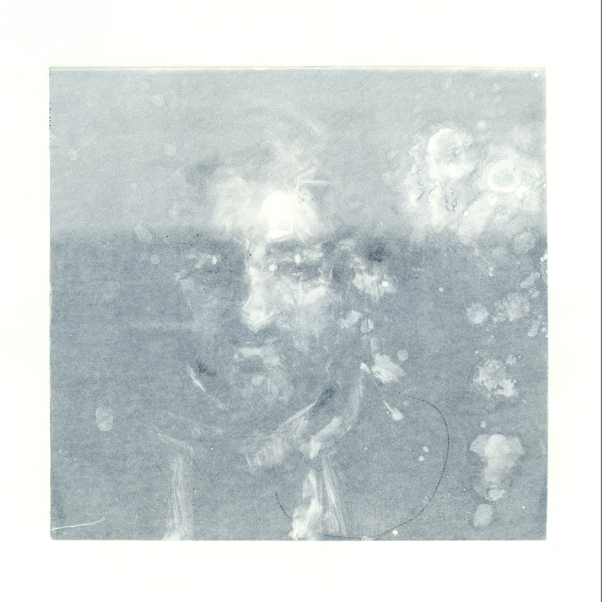 """Rubino Ghost,"" monoprint, 18 x 20 inches, 2018."
