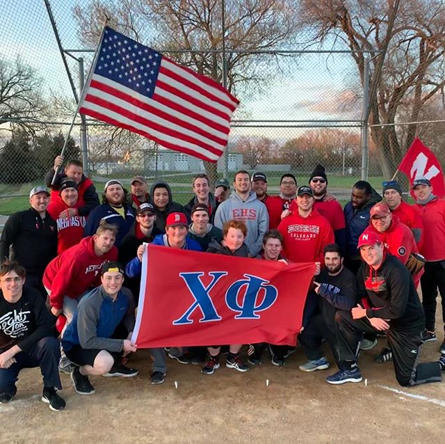 "Our 4th annual alumni weekend softball game! It went the way of the alumni this time, thus making the overall series 2-1 alumni, including one ""rainout"" aka the alumni not fielding enough players #fakenews .  It was a great night, and thank you to all the alumni and actives who came out!"
